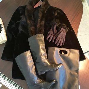 Jackets & Blazers - Bundle: faux fur coat, boots 7.5, gloves, tote